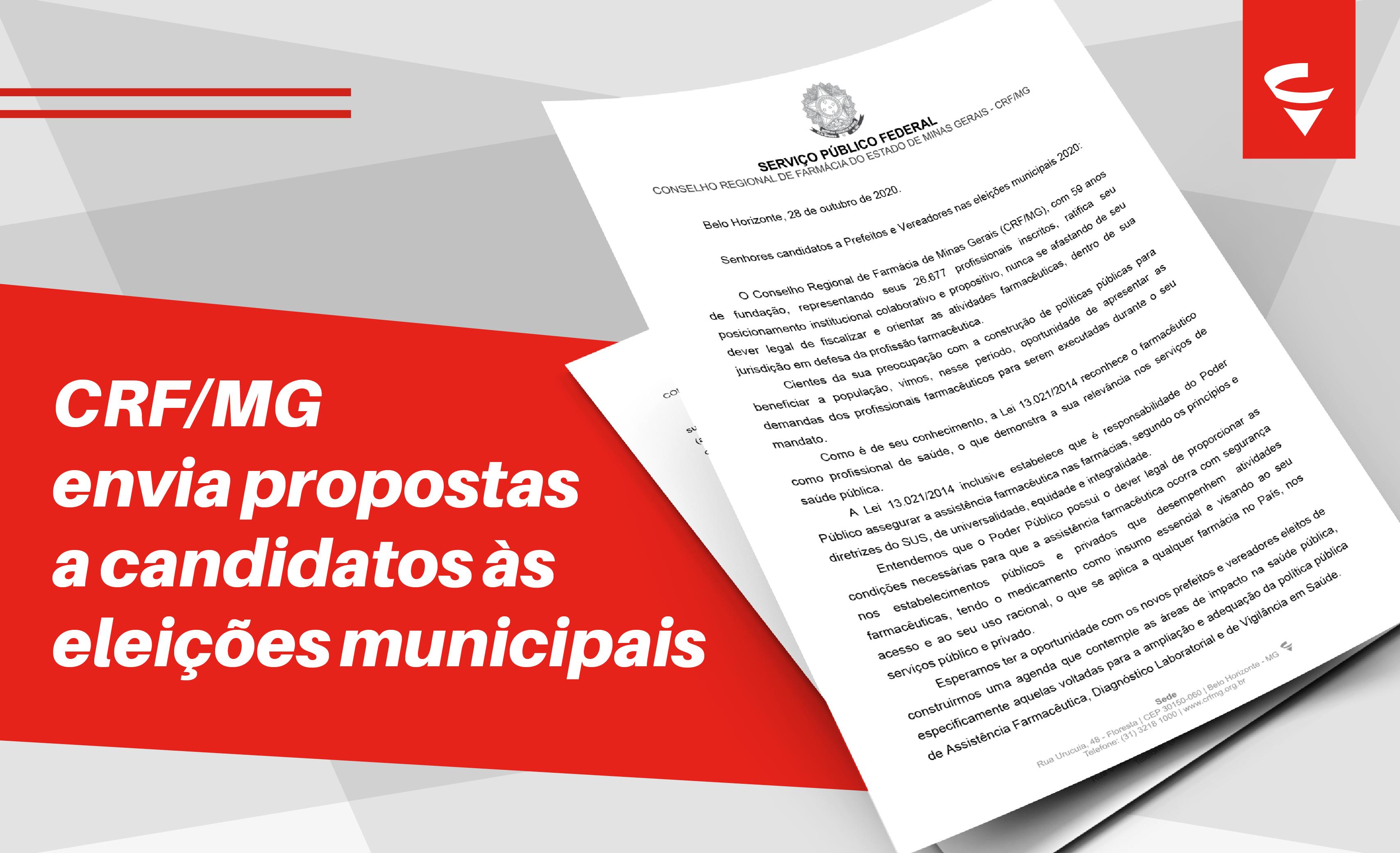 CRF/MG envia carta com propostas a candidatos às eleições municipais